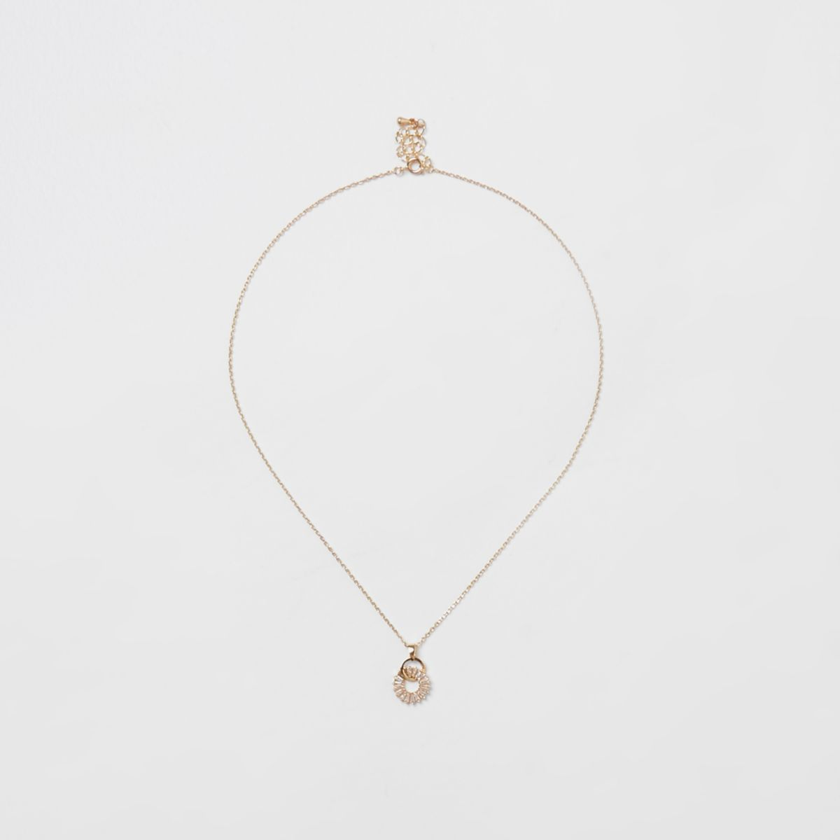 Gold tone diamante pendant necklace