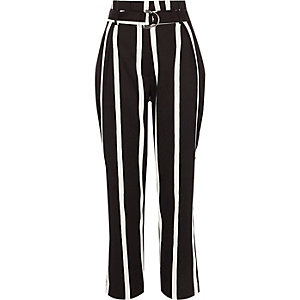 Black stripe paperbag waist D ring pants