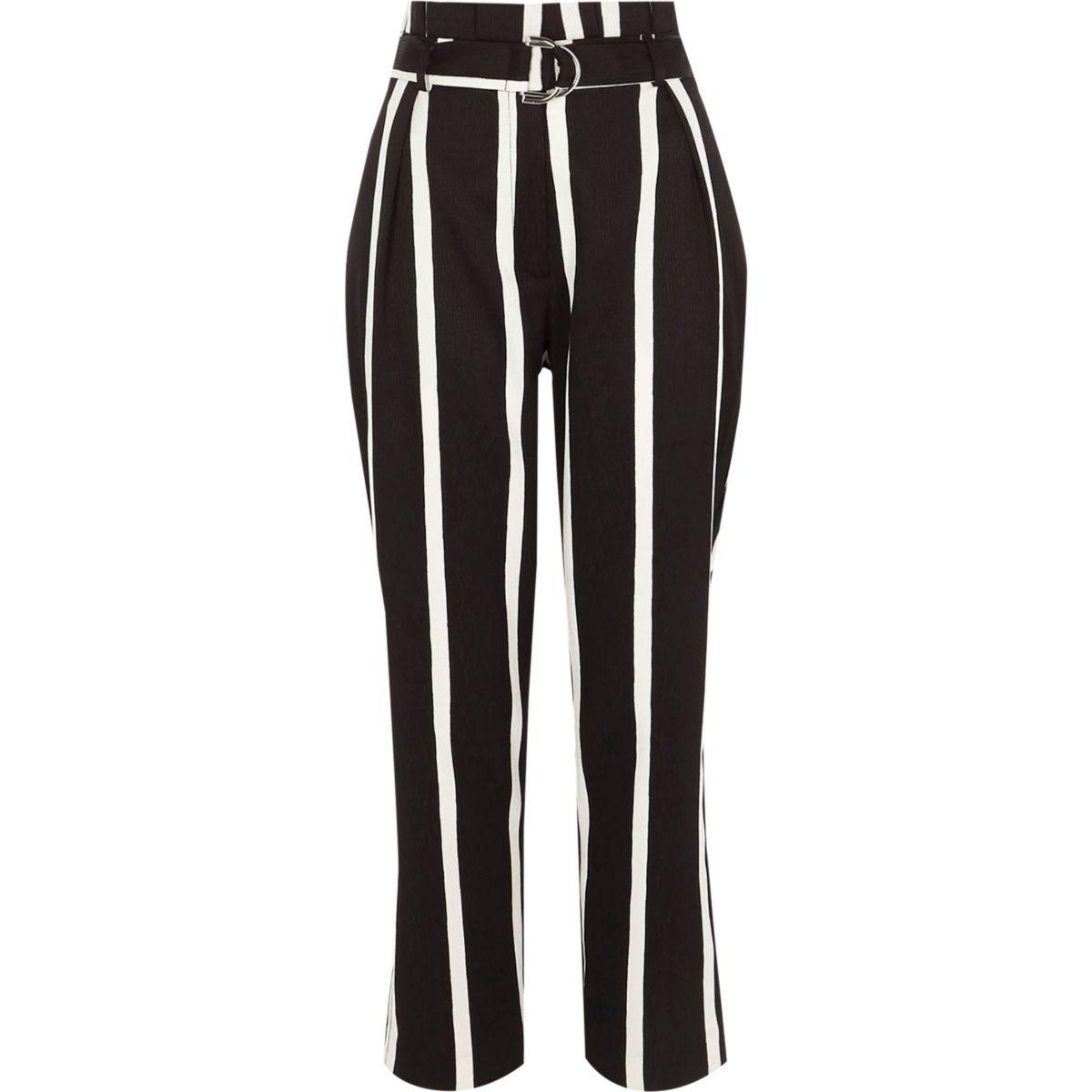 Black stripe paperbag waist D ring trousers