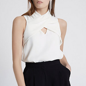 White wrap neck sleeveless top