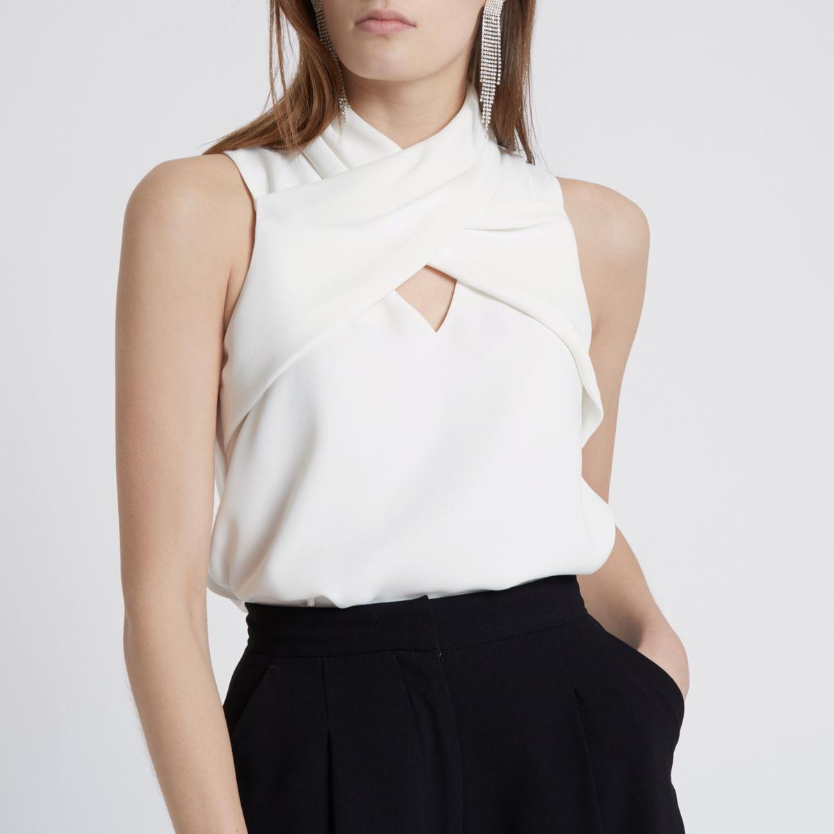 White wrap neck sleeveless top