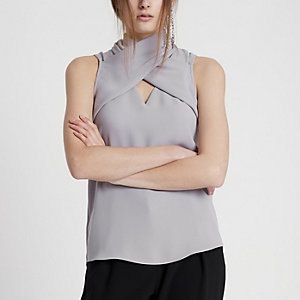 Light grey wrap neck sleeveless top