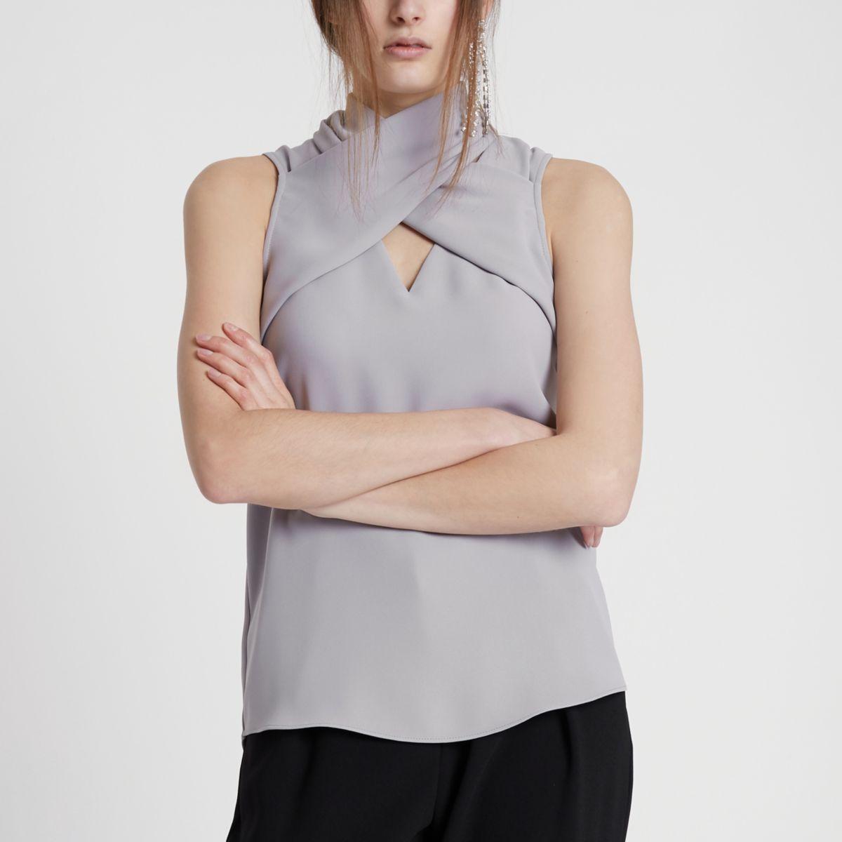 Light grey wrap neck sleeveless top