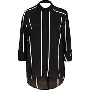 Schwarzes, gestreiftes Hemd mit Zierausschnitt hinten