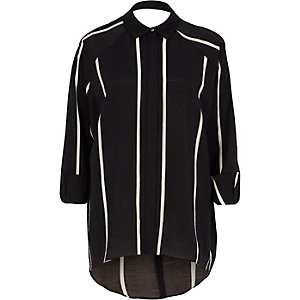 Black stripe print cut out back shirt
