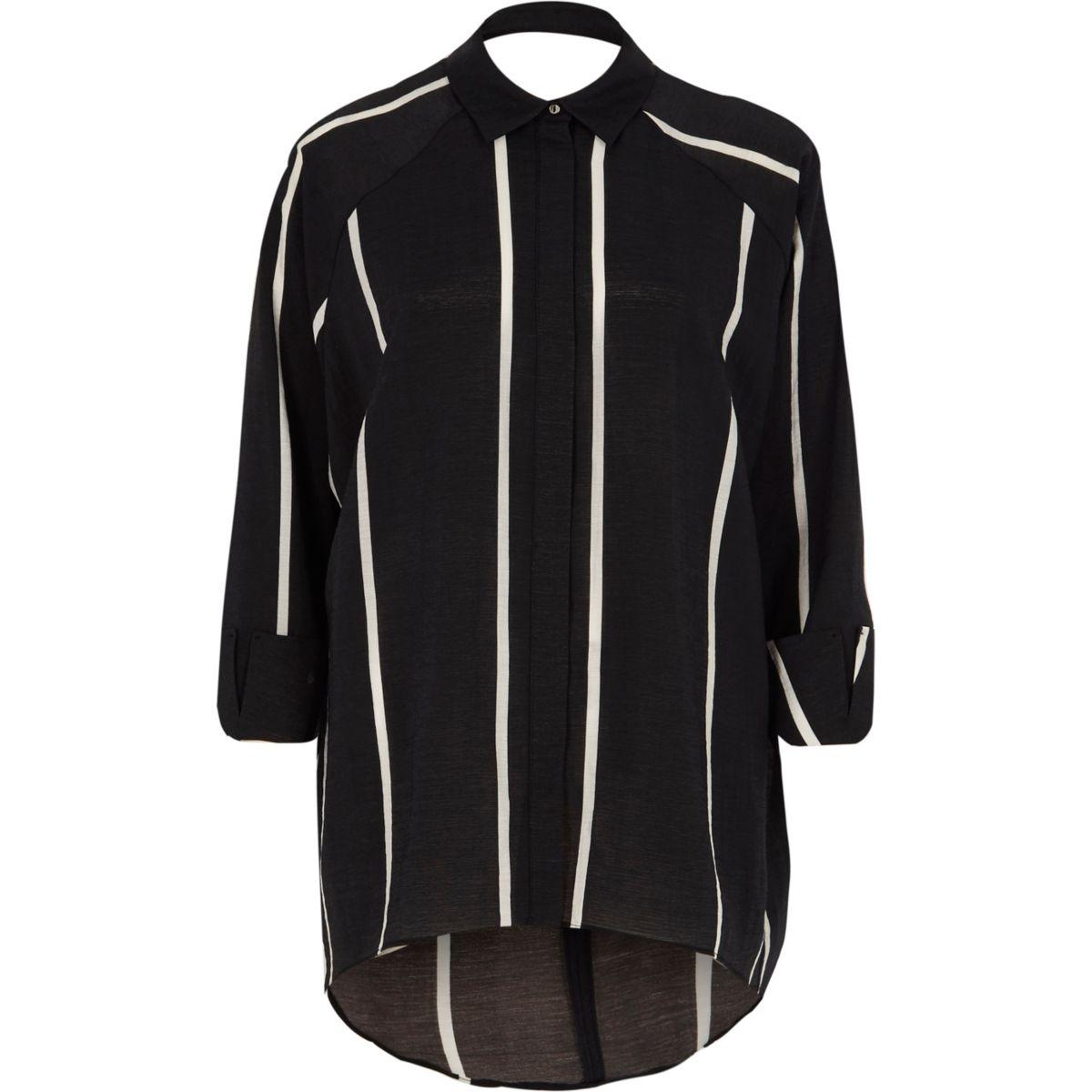 Black stripe print cut out back shirt