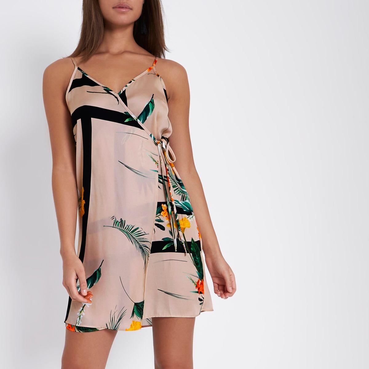 Beige floral print mini slip dress