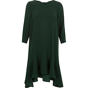 Green frill hem tie back swing dress
