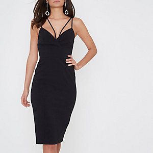 Black strappy bodycon midi dress