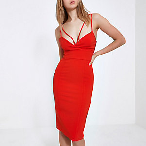 Red strappy cami bodycon midi dress