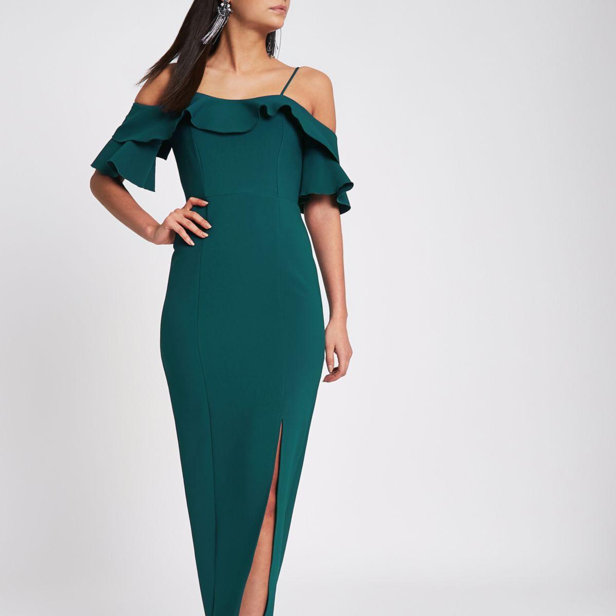 Dark green frill bardot maxi bodycon dress