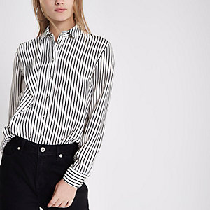 White stripe frill long sleeve shirt