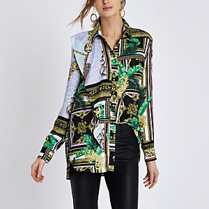 Green mixed scarf print long sleeve shirt