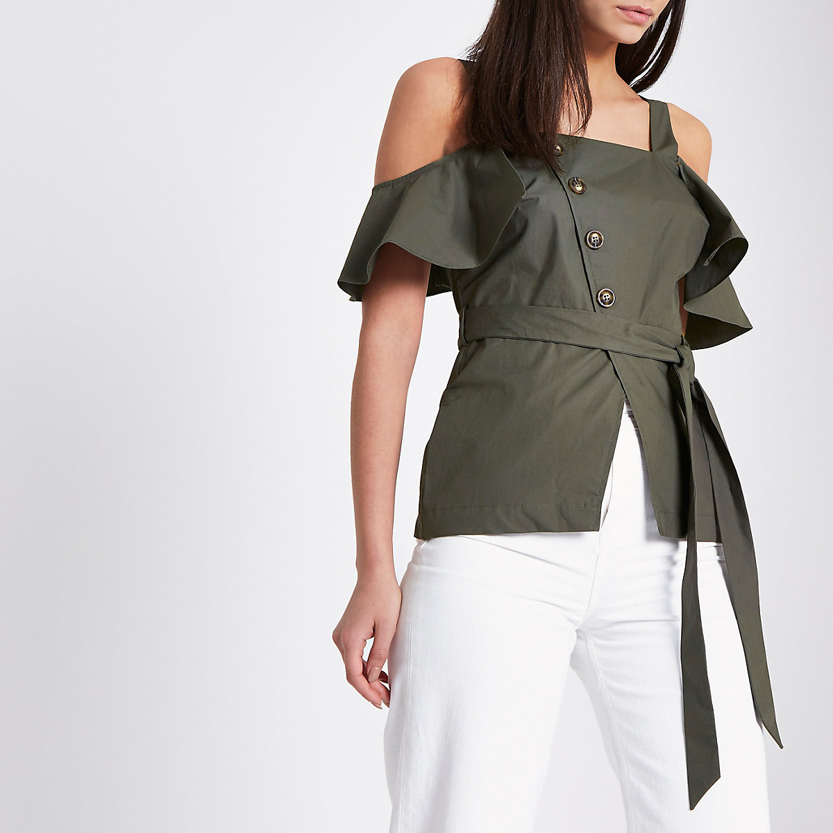 Khaki green asymmetric button tie waist top