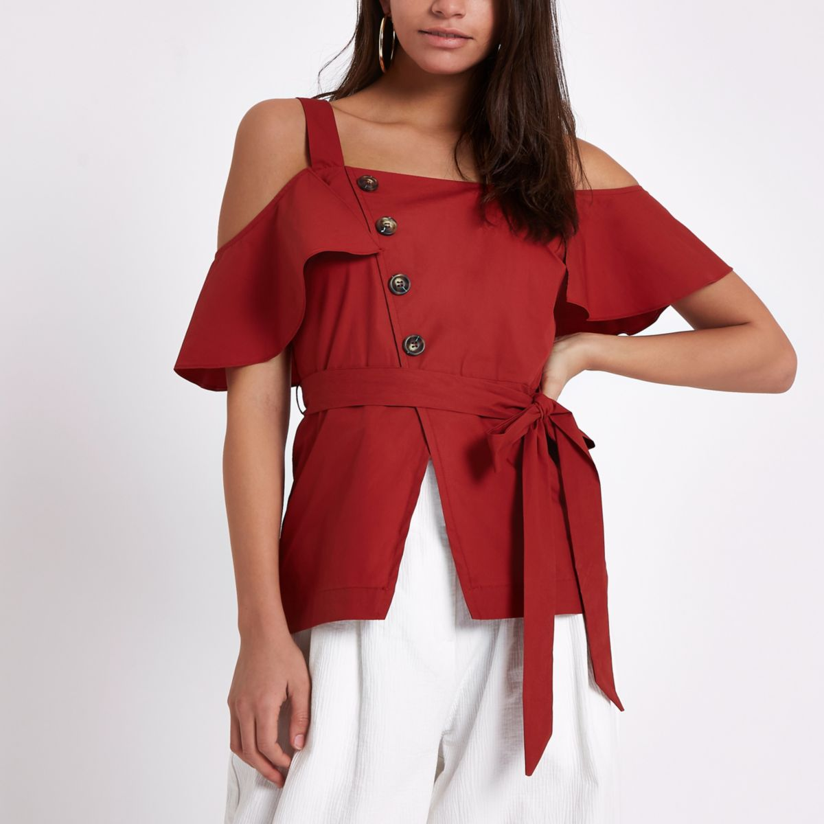Orange button front bardot top