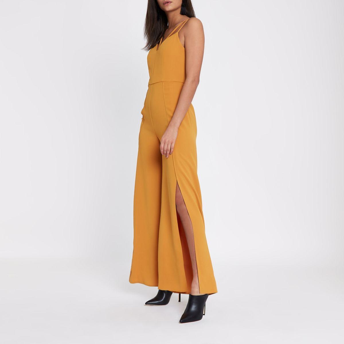 Mustard yellow wide split leg cami jumpsuit