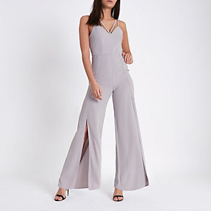 Light grey wide split leg cami jumpsuit