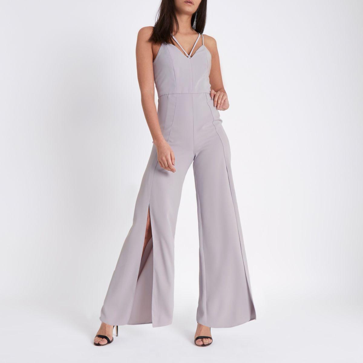 Light grey wide split leg cami jumpsuit