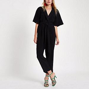 Black tuxedo kimono sleeve belted jumpsuit