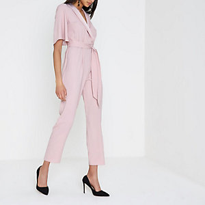 Pink three quarter sleeve tailored jumpsuit