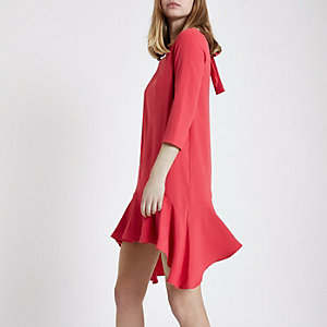 Pink frill hem tie back swing dress