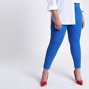 Plus – Jaida – Blaue Skinny Leggings