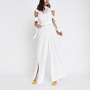 White RI Luxe Edition lace high neck wide leg