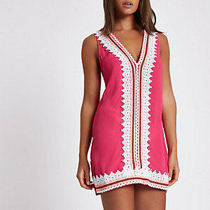 Pink scallop lace trim mini beach dress