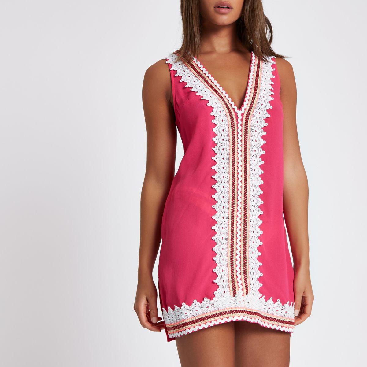 Pink scallop lace trim mini beach dress