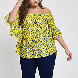 Plus yellow shirred floral bardot frill top