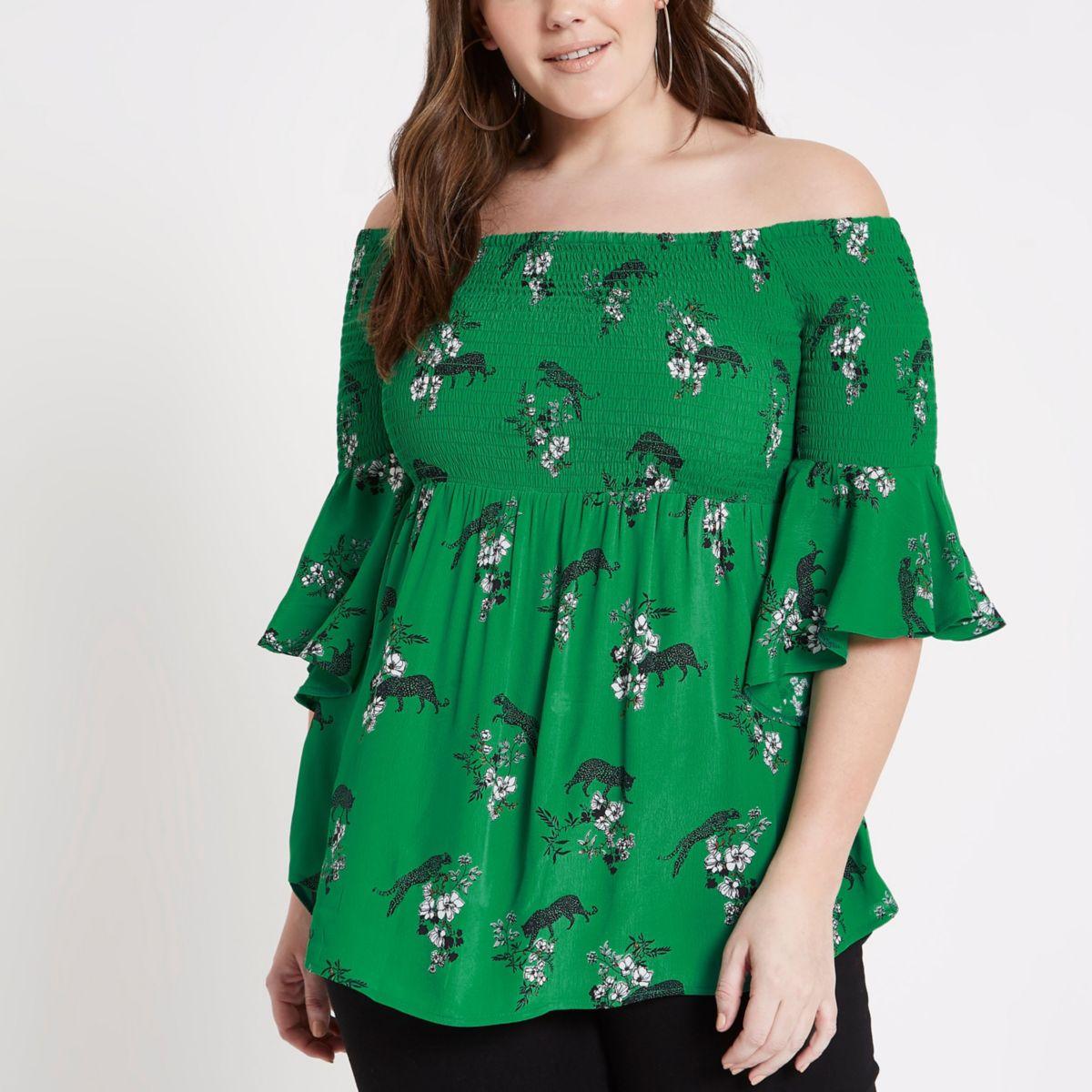 Plus green shirred floral bardot frill top