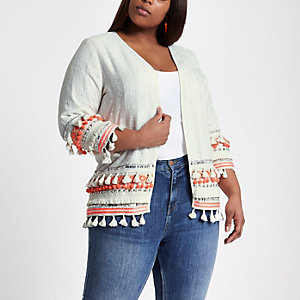 Plus cream embroidered tassel kimono