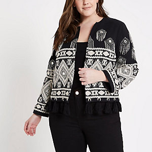 Plus black tassel hem trophy jacket