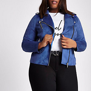 Plus blue faux suede biker jacket