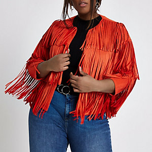 Plus bright red faux suede fringe jacket
