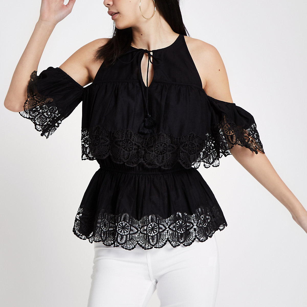 Black cold shoulder broderie frill top