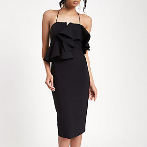 Black peplum waist bodycon dress