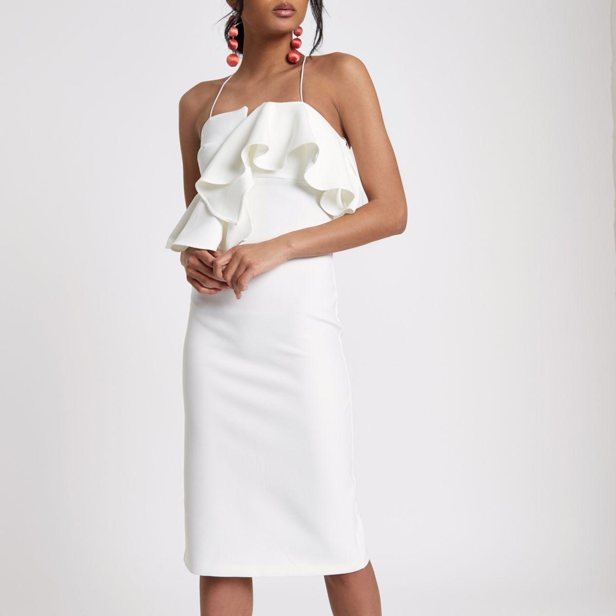 White peplum waist bodycon dress