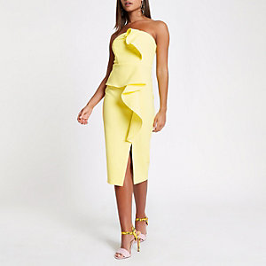 Yellow side frill bodycon dress