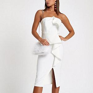 Weißes Bodycon-Kleid mit Rüschen