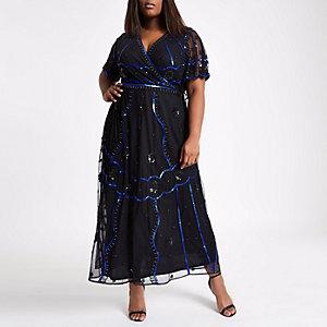 Robe longue Plus noire ornée style portefeuille