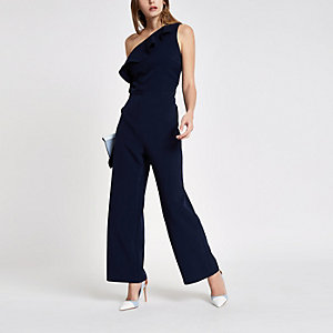 Navy frill one shoulder jumpsuit