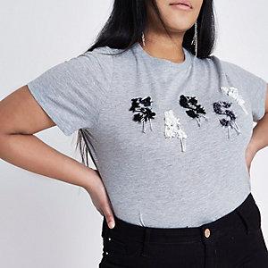 Plus grey marl 'sassy' embellished T-shirt