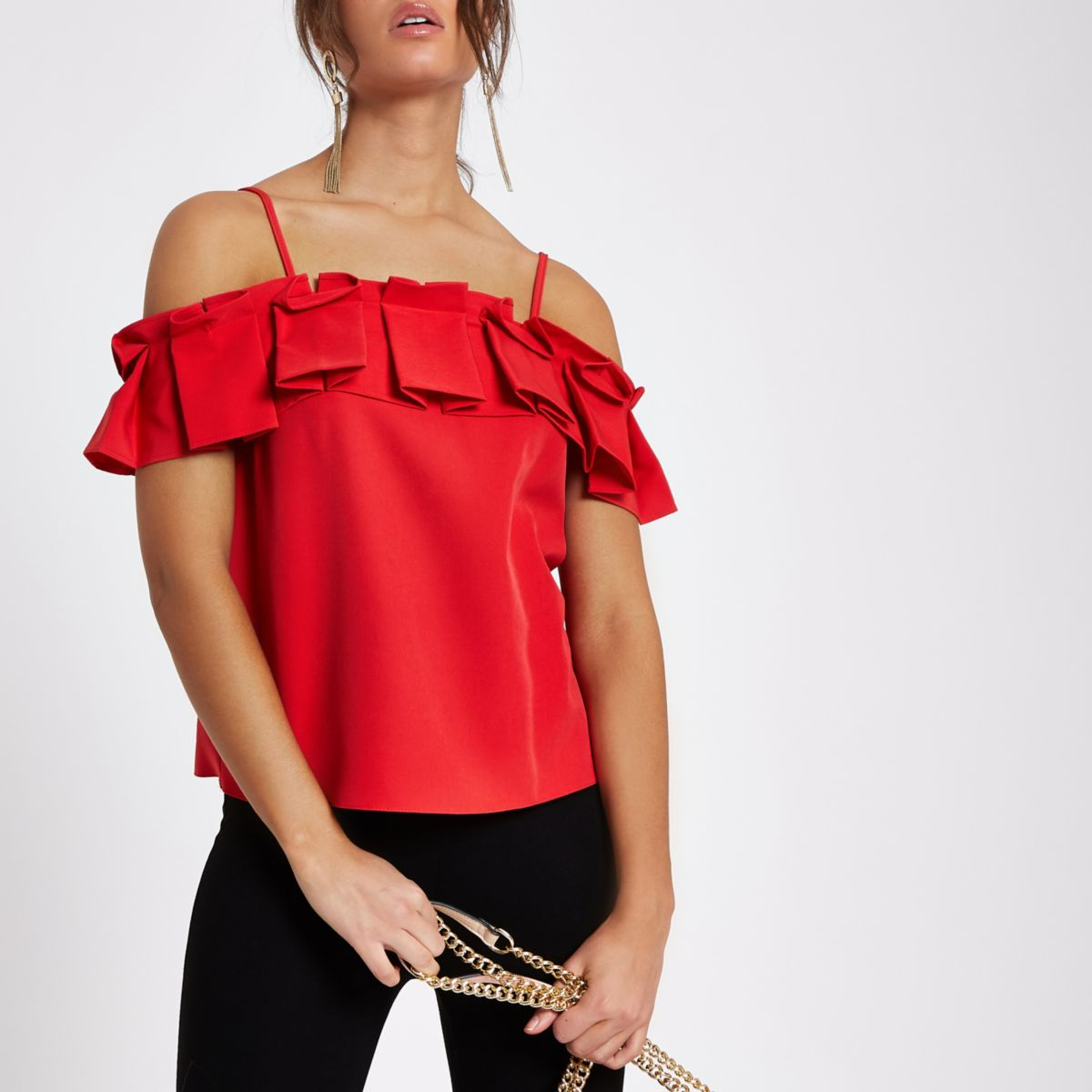 Red pleated frill cold shoulder top