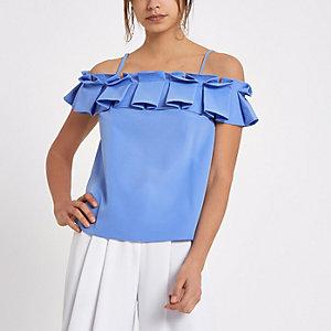 Blue frill bardot cami strap top