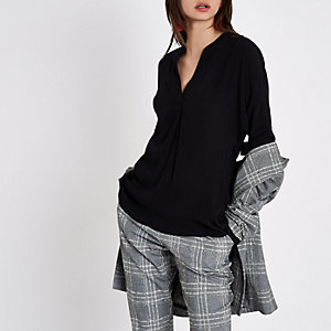 Black twist back V neck blouse