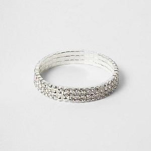Bracelet argenté serti de strass