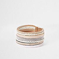 Brown heatseal diamante cuff bracelet