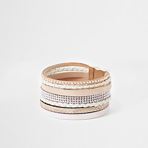 Brown heatseal diamante cuff bracelet