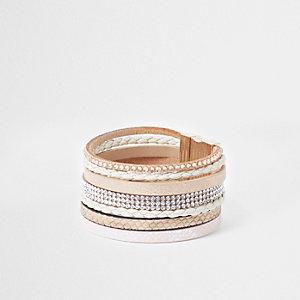 Brown heatseal rhinestone cuff bracelet